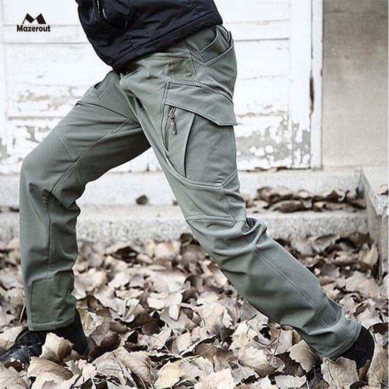 Prix pour MAZEROUT Tactique Requin Peau Soft Shell Pantalons Militaires Hommes Étanche Chaleur Réflexion Sport Pantalon En Plein Air Armée Cargo P31