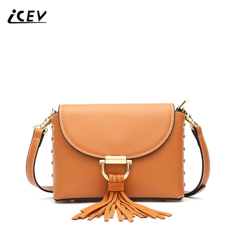 ICEV New Korean Fashion Tassel High Quality Designer Genuine Leather Bags Women Messenger Bags Ladies Casual Shoulder Bag Bolsas icev new korean fashion high quality simple genuine leather saddle crossbody bags for women messenger bags cow leather handbags