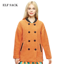 ELF SACK Women Winter Retro Round Collar Long Sleeve Double Breasted Trench Warm Solid Woolen Overcoat With Brooch