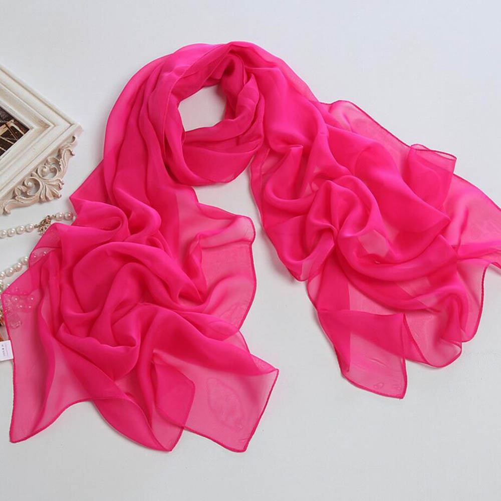 plain silk scarf shawl beach sarong women chiffon cape pareo opera capes long stole tippet bright colors soft mujer wraps shawl in Women 39 s Scarves from Apparel Accessories