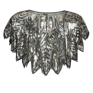 Image 2 - JaneVini Elegant Black Gold Bolero Sparkle Sequined Bridal Wraps Beaded Wedding Cape Shawls Cloak for Evening Party Accessories