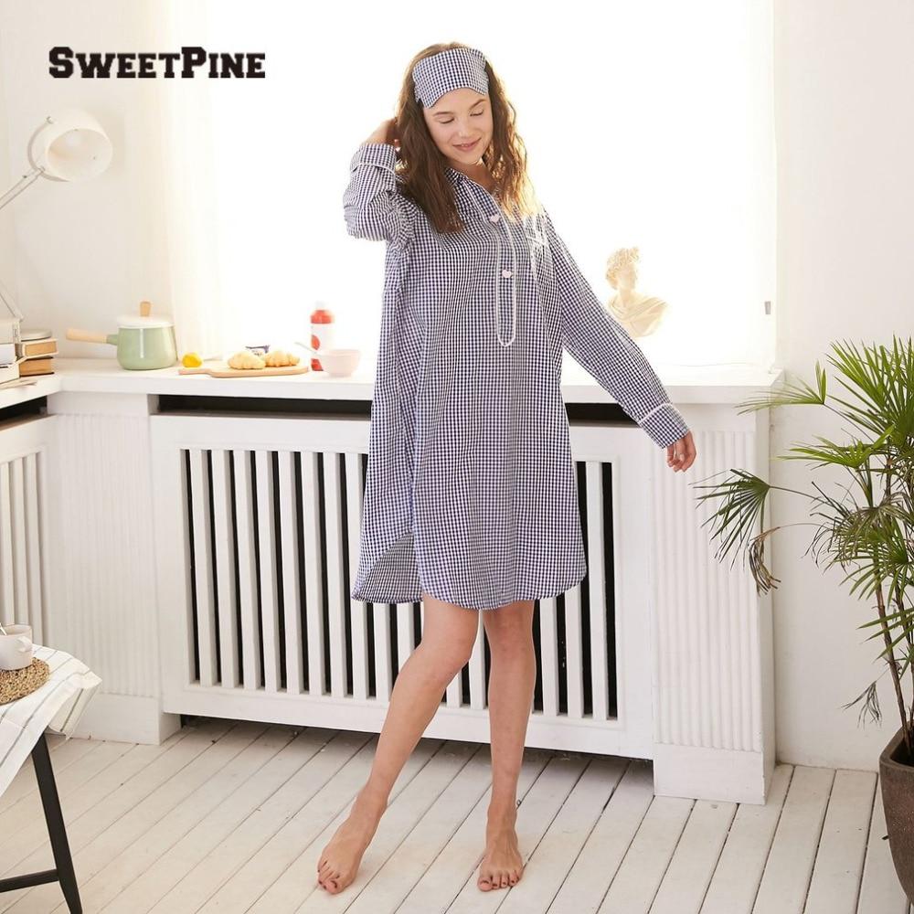 2018 Brand Striped Cotton Nightgowns Sleepwear Female Sleep Lounge Women Indoor Clothing Sexy Loose Dress Nightdress Sweetpine