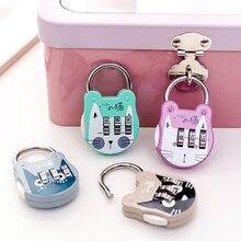 Cadeado mala com senha de desenho animado, cadeado para bagagem de gato, mochila, mini cadeado chaveiro, diário, trava de código, 1 peça