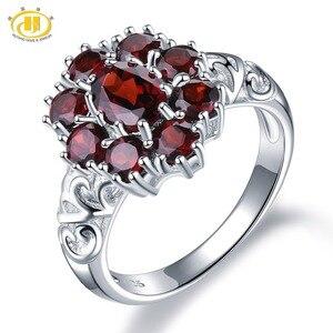 Image 1 - Hutang обручальные кольца с красным гранатом из стерлингового серебра 925 пробы, кольцо с натуральным драгоценным камнем, изящное элегантное ювелирное изделие для женщин, лучший подарок, Новинка