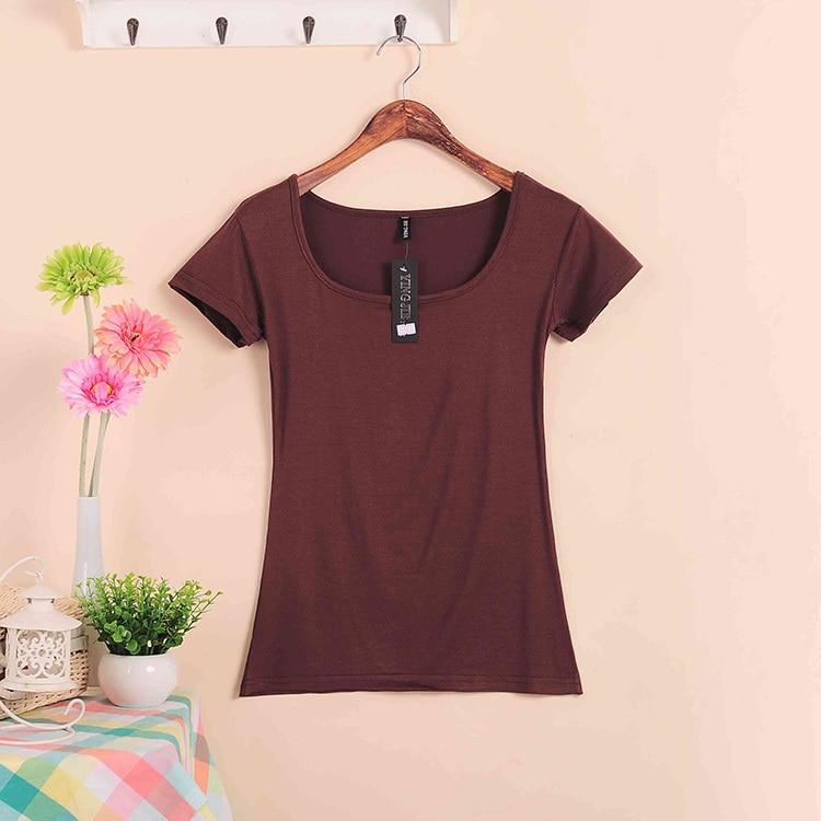 Базовые Стрейчевые топы размера плюс,, Летний стиль, короткий рукав, футболки для женщин, u-образный вырез, хлопок, женские футболки, повседневные футболки - Цвет: W00630 coffee