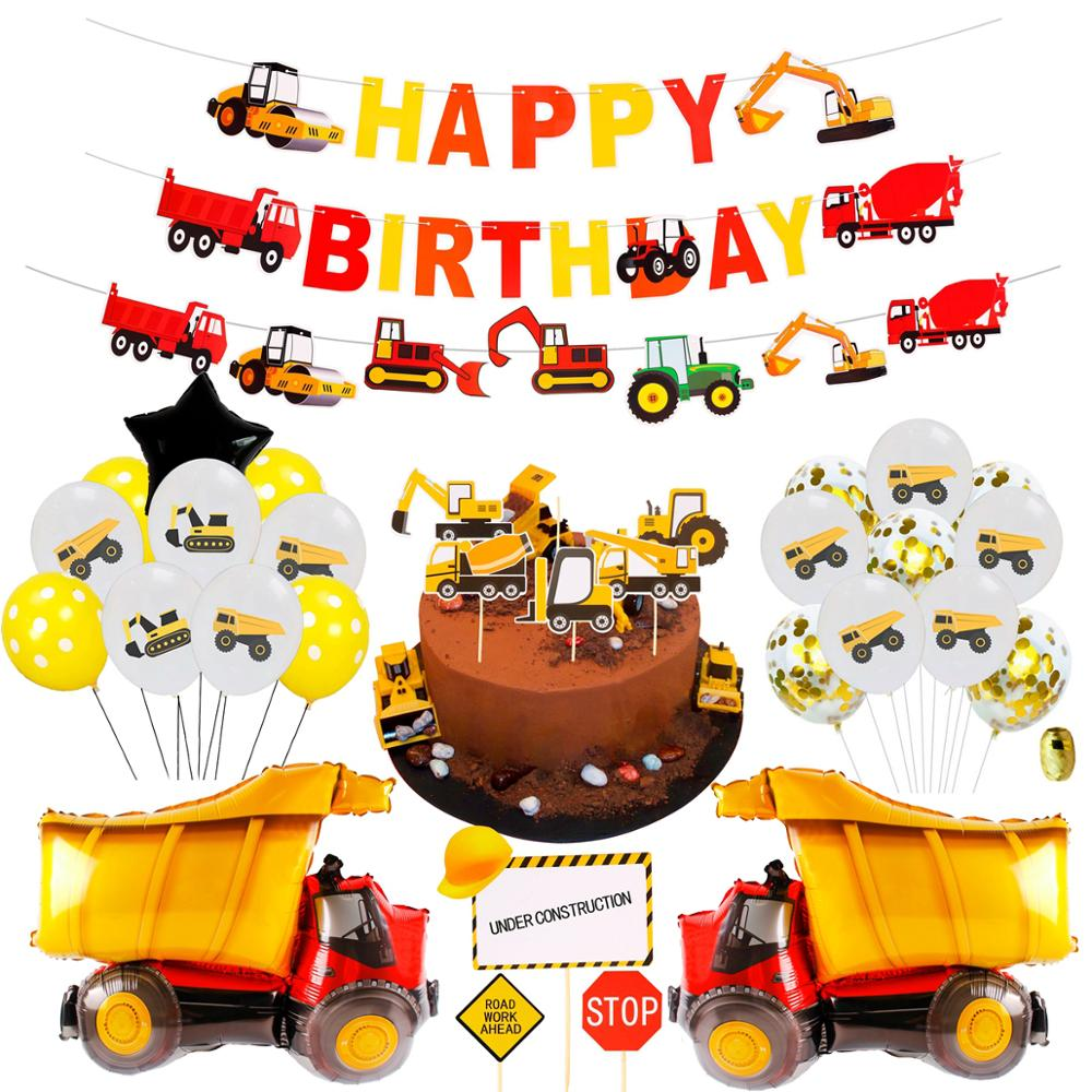 Image 3 - Construction Birthday Balloons Cars Construction Party Decorations Balloon Birthday Tractor Ballon Helium Ballons Decor Birthday-in Ballons & Accessories from Home & Garden