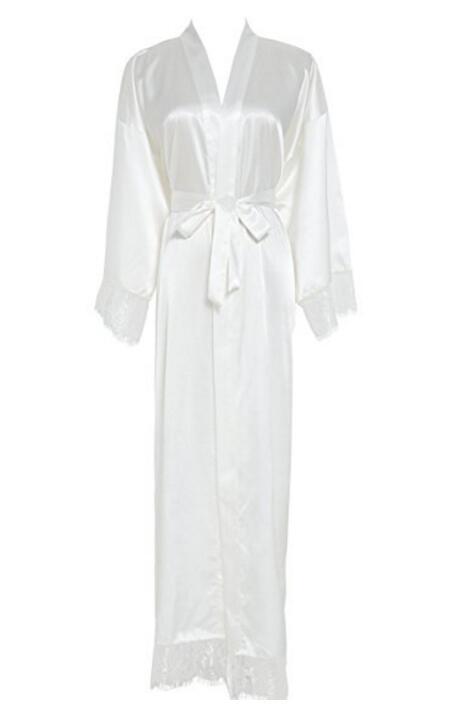 Summer Lace Patchwork Satin Kimono Robe Sexy Sleepwear Lingerie Chemises Women Silk Long Nightgown Wedding bridesmaid Robes