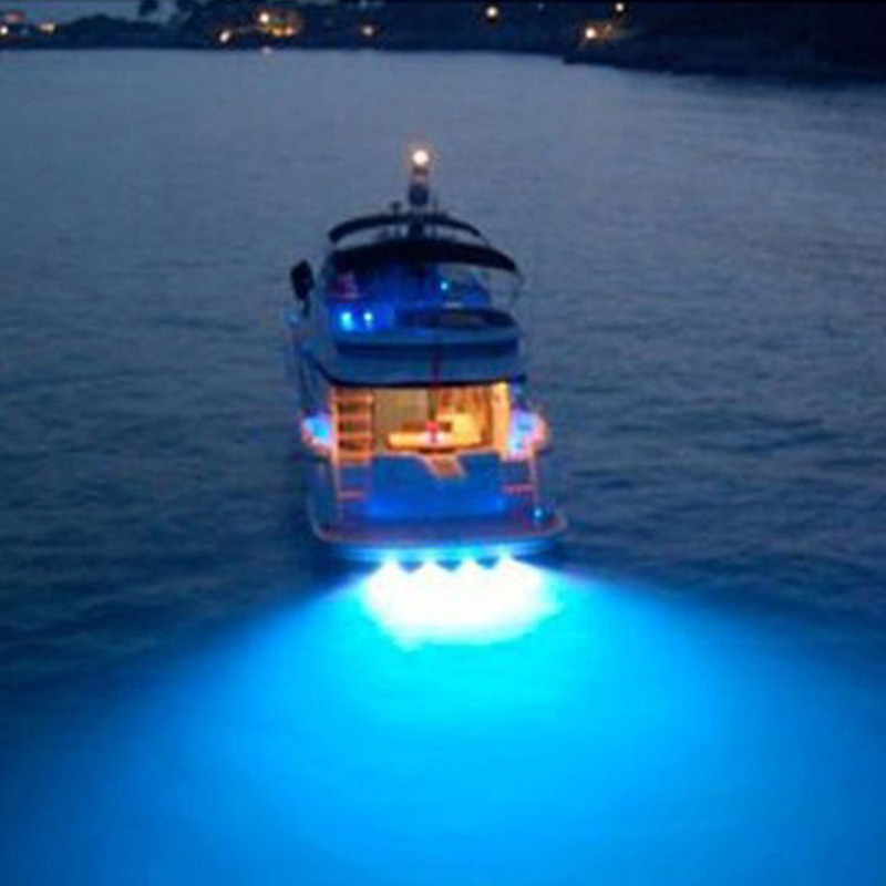 Blue Led Drain Plug Light 9W Underwater Boat Marine Yacht Transom Fishing Diving
