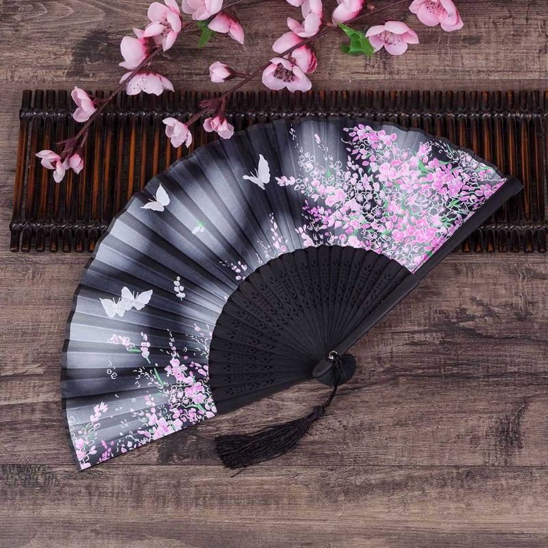 Retro Japanese Chinese Folding Silk Hand Held Fan Butterfly Flower Bamboo Wedding Party Dance Decor Gift