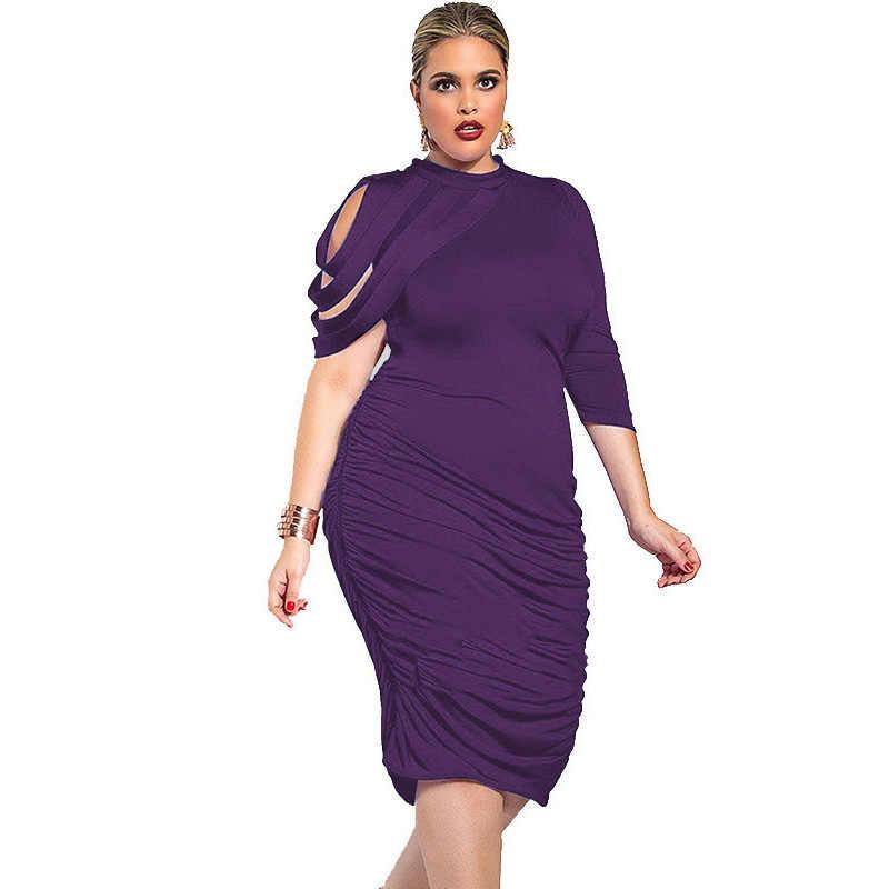 Plus Size 3XL 4XL 5XL Sexy slim One Sleeve Dress 2018 Summer fashion Black  Blue tunic d31a5731a105