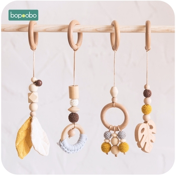 Bopoobo Baby Wooden Chain Chewable Bracelet Baby Mobile Wooden Teether Leaf Rattle Toy Can Chew BPA Free Baby Teething Gifts