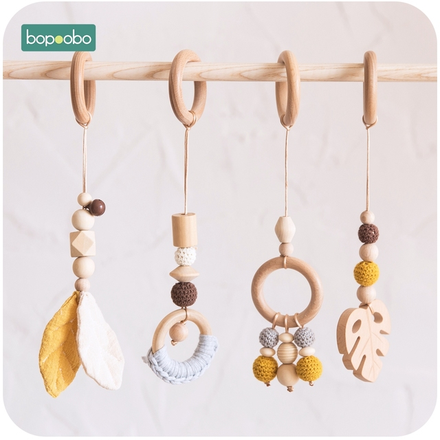 Bopoobo תינוק עץ שרשרת לעיסה צמיד תינוק נייד עץ Teether עלה רעשן צעצוע יכול ללעוס BPA משלוח תינוק בקיעת שיניים מתנות