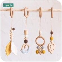 Bopoobo bébé chaîne en bois à croquer Bracelet bébé Mobile en bois dentition feuille hochet jouet peut mâcher BPA gratuit bébé dentition cadeaux