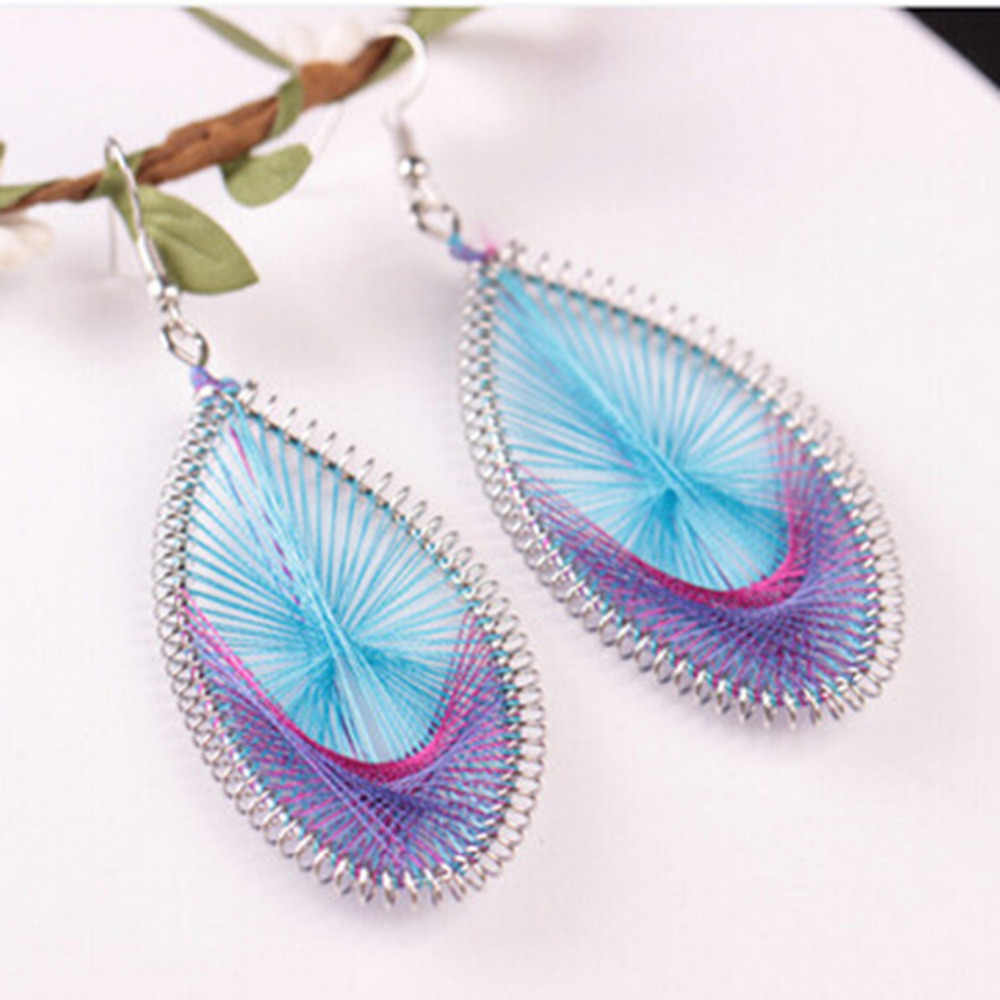 "8SEASONS Boho Chic Handmade Wire Wrapped Earrings Dull Silver Leaf Oval 2018 Fashion Women Jewelry 83mm x 35mm(1 3/8""), 1 Pair"