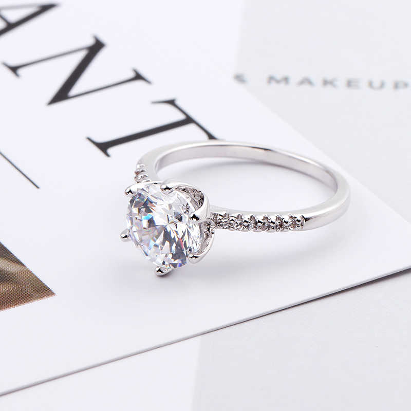 Кольцо белого золота с карат, цирконий 0,8 см роскошное обручальное кольцо для женщин оптом серебряное модное кольцо на палец ювелирные изделия