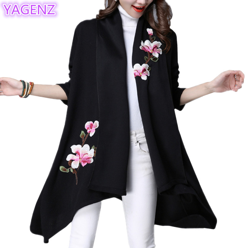 Autumn dress women basic coat Red coat New Women Windbreaker National Wind Embroidered Flowers cardigan Windbreaker A66 YAGENZ