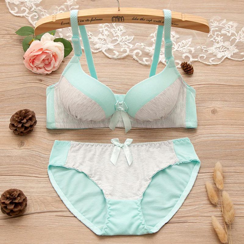 New Sexy Women Casual Comfortable Underwear Sets Gather Bra And Panties Suit B Cup Push Girls Bra Suit