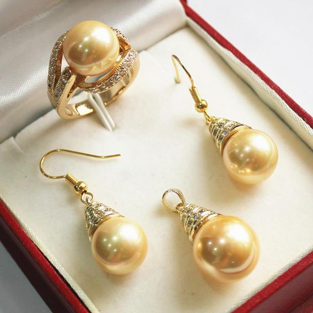 Design Golden 12mm Shell Pearl Earring Ring Pendant Jewelry Set>AAA GP Plated gold Bridal wide watch wings queen JEWE kcchstar luxury dual pearl gold plated ring golden white us size 8
