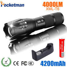 2018 LED Flashlight 18650 torch waterproof rechargeable XM-L T6 4000LM 5 mode led Zoomable light For 3x AAA or 3.7v Battery(China)