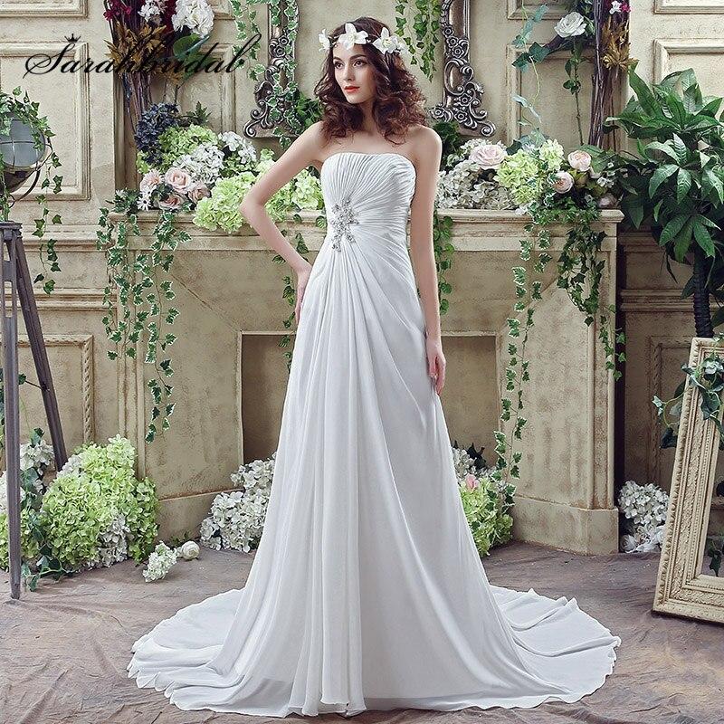 vestidos de novia Simple Boho Wedding Dress Pleated Crystal Front ...