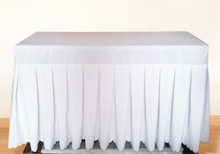 6Ft White Rectangular Spandex Lycra Swag Table Cloth Cover For Wedding Party Banquet Hotel  Length 30 Width