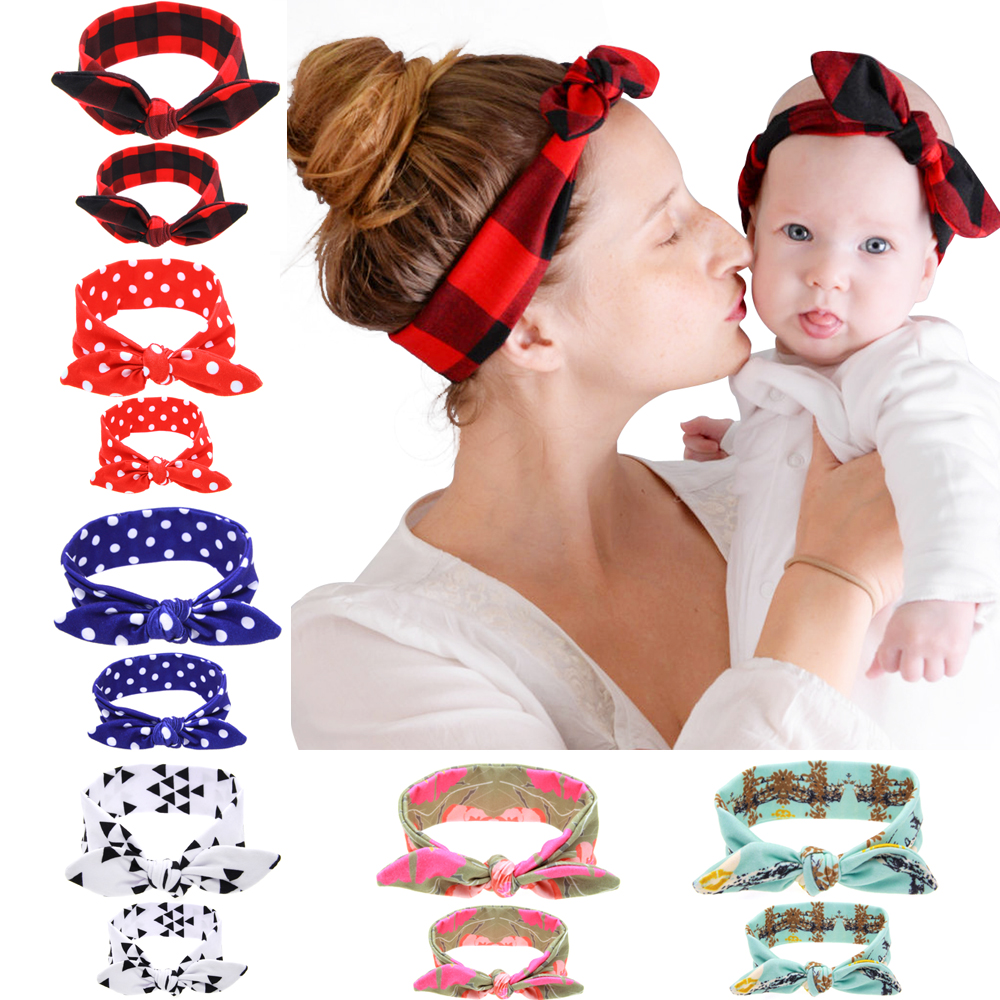 2PC/Set Mom Rabbit Ears Hair Ornaments Tie Bow  Headband Hair Hoop Stretch Knot Bow Cotton Headbands For Women Hair Accessories 2017 new fashionable cute soft black grey pink beige solid color rabbit ears bow knot turban hat hijab caps women gifts