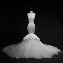 Vestido De Noiva Custom Made Robe De Mariage Mermaid Trumpet Wedding Dresses Crystal Beading Pleat Bridal Gown