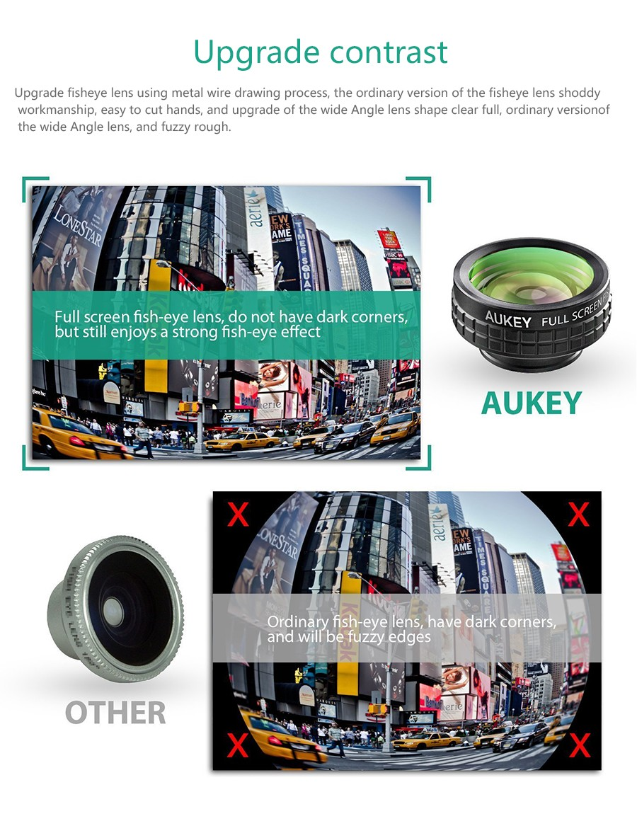AUKEY Fish eye Lens 3in 1 Clip-on Cell Phone Camera 180 Degree Fisheye Lens+Wide Angle+Macro Lens for iPhone 7Plus Xiaomi & More 16