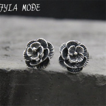 Fyla Mode Authentic 100% 925 Sterling Silver Black Rose Flower Stud Earrings For Women Fine Jewelry 11.50mm TYC189