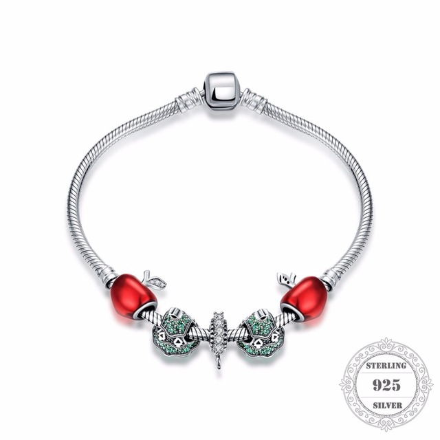 HEMISTON 925 Sterling Silver Red Apple Christmas Tree Bead Bracelets with Snowflake Charm for Women Fine Jewelry Gift PAB004