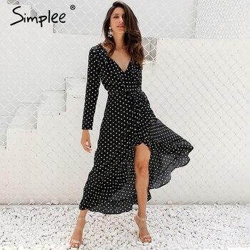 Simplee Autumn long sleeve polka dot ruffle wrap dress Women sexy v neck split maxi dress vestidos Summer beach black long dress