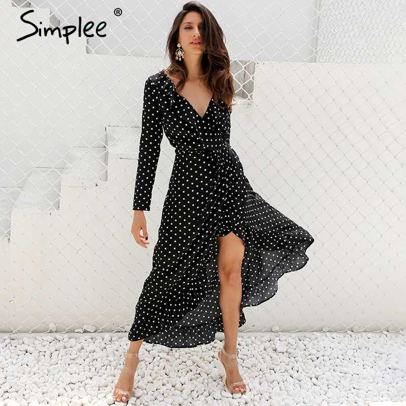 6a8d6b14a63c Simplee Autumn long sleeve polka dot ruffle wrap dress Women sexy v neck  split maxi dress