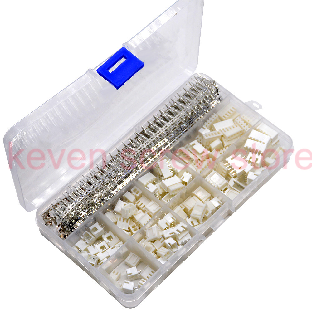 560PCS <font><b>XH</b></font> 2.54 2p 3p 4p <font><b>2.54mm</b></font> Pitch Terminal Kit Housing Pin Header JST Connector Wire Connectors Adapter <font><b>XH</b></font> Kits XH2.54mm image
