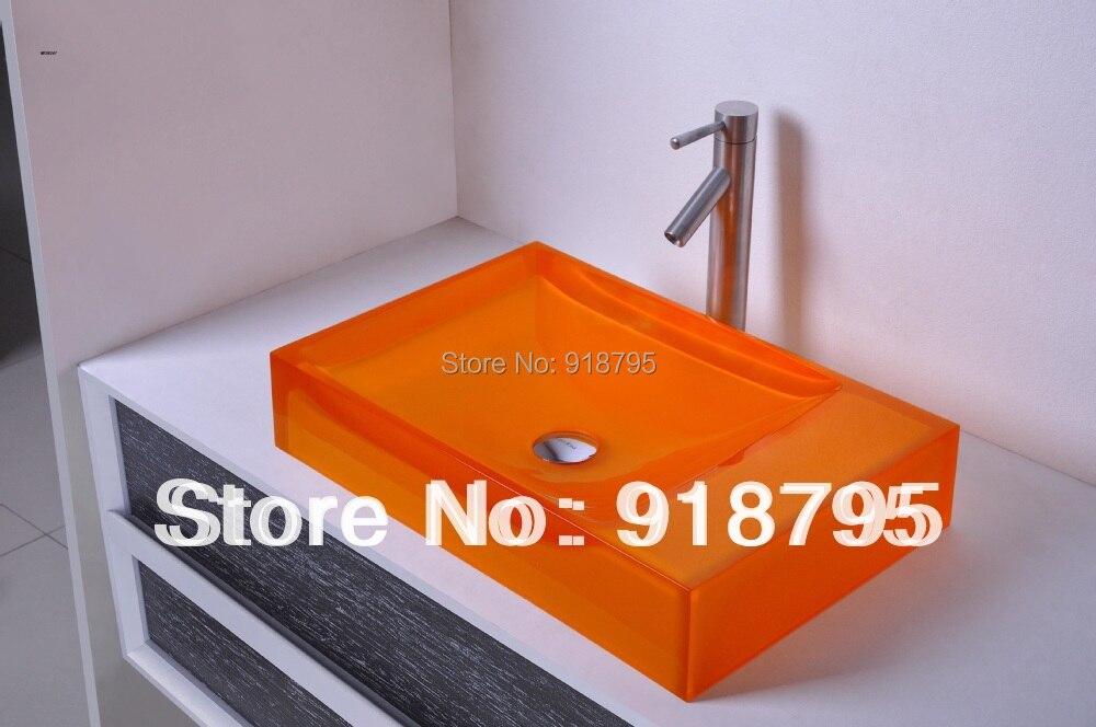 Rectangulaire Salle De Bains De Résine De Comptoir Évier Navire Vestiaire Vanité Dessus Du Comptoir lavabo de couleur RS38247-590