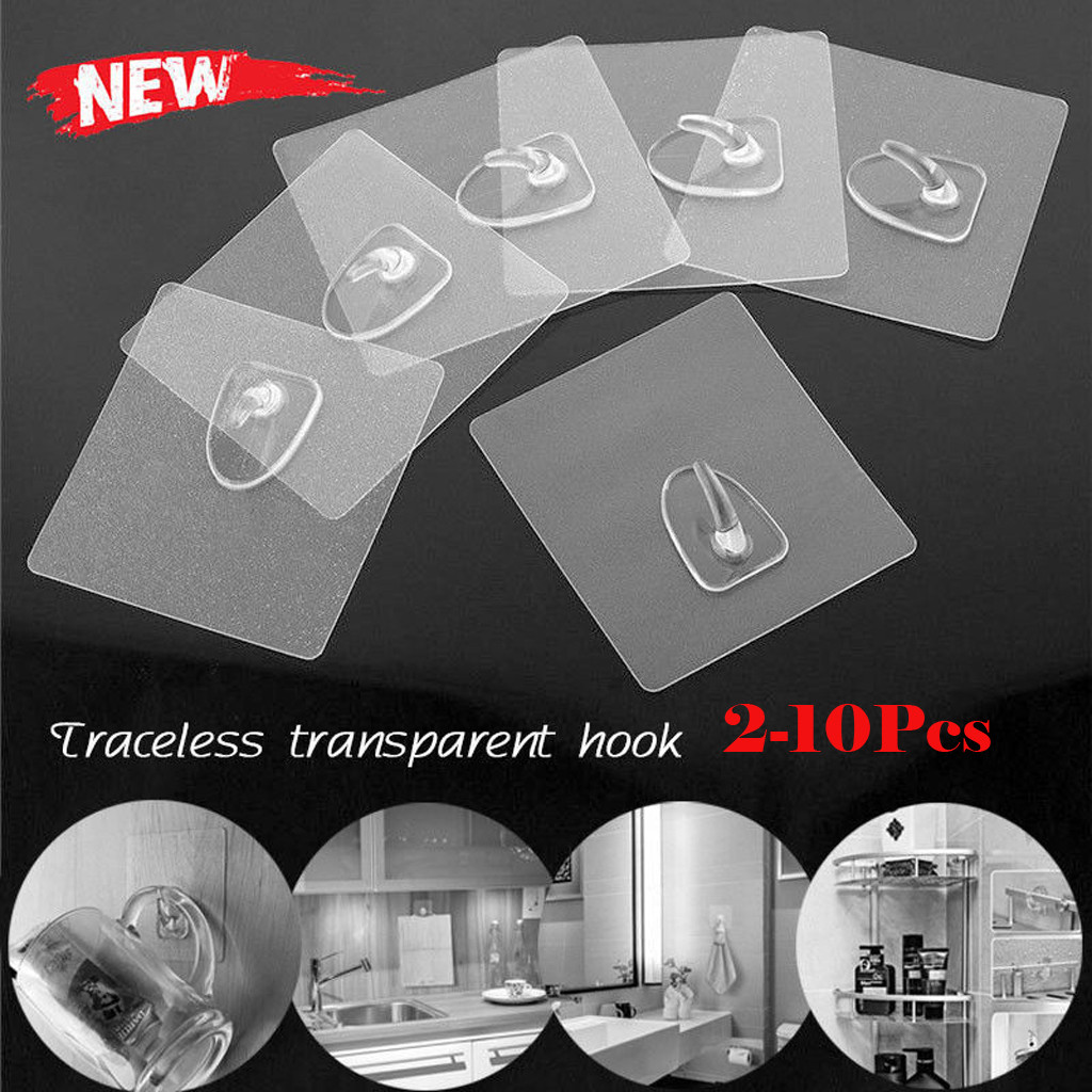 2-10Pcs/Set Anti-skid Reusable Transparent Traceless Wall Hanging Hooks Kitchen Bathroom Bedroom Seamless Self-Adhesive Hooks