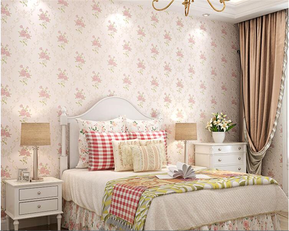 beibehang three-dimensional pastoral floral nonwoven 3d wall paper warm pink children's bedroom girl bedroom European wallpaper beibehang warm european style pastoral network wallpaper living room bedroom tv 3d solid thick three dimensional wallpaper