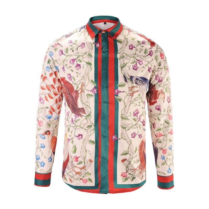 2017 Neue Blume Hemd Rot Mit Blau Farbe Bild Langarm Hemd Billigverkauf 50%