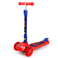 MARVEL Ultimate Spider Man Super Hero Kids Flash Wheels Twist Scooter Adjustable Height Foldable Scooters Outdoor Toys Red