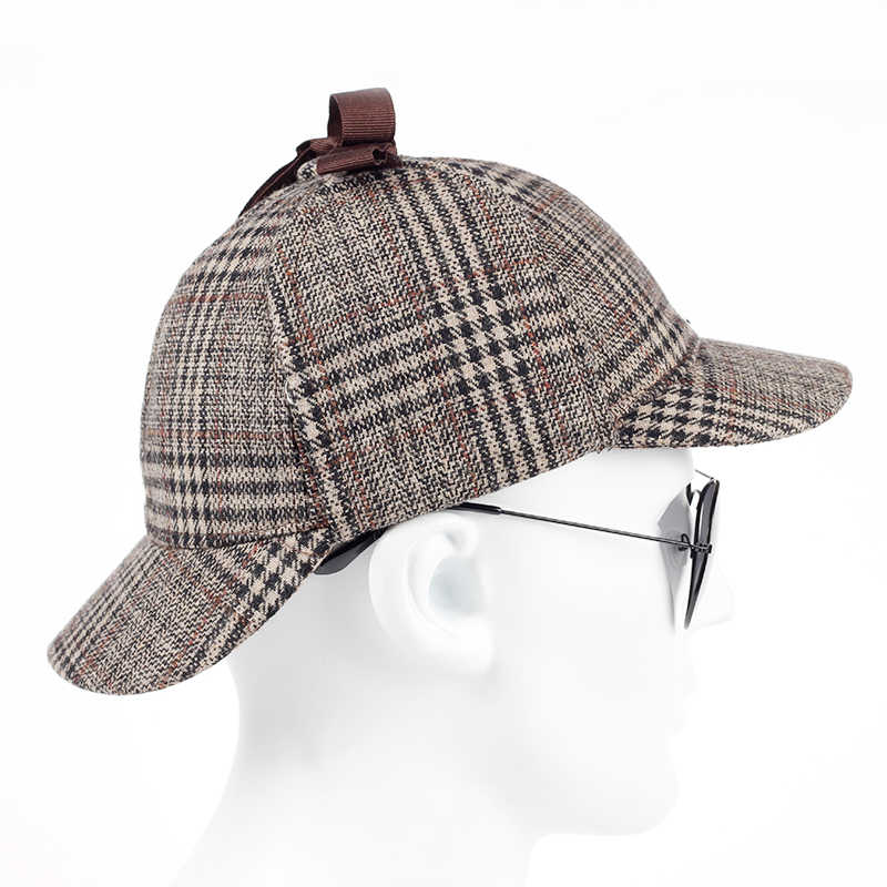 e9778823 ... TUNICA 2017 new cotton High Quality Cosplay Cap Detective Sherlock  Holmes Deerstalker Hat Gray Cups New ...