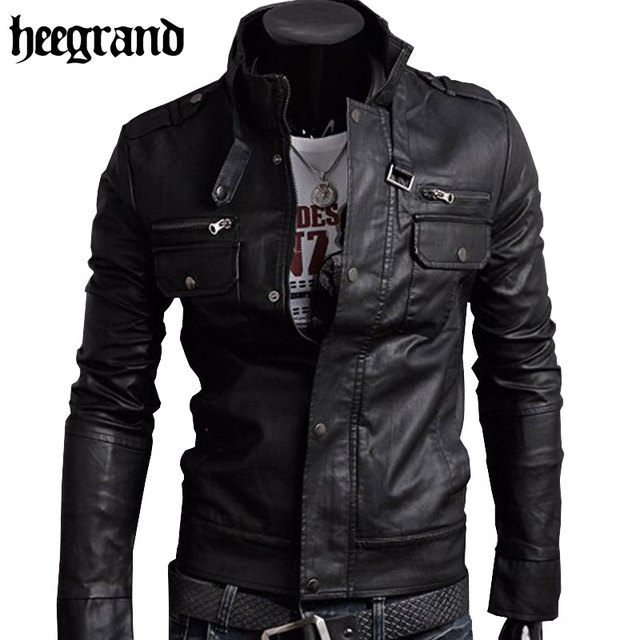 HEE GRAND 2018 Classic Style Motorcycling PU Leather Jackets Men ...