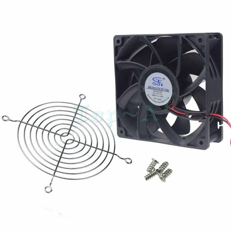 Gdstime 2 pcs 12cm 120mm x 38mm Ball Bearing Cooling Fan 12v 12cm PC Fan CPU Cooler Large Wind High Pressure + Fan Grill delta 12038 12v cooling fan afb1212ehe afb1212he afb1212hhe afb1212le afb1212she afb1212vhe afb1212me