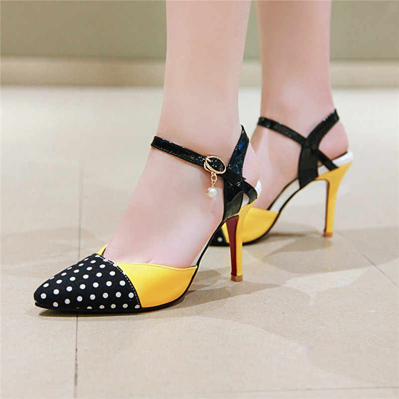 YMECHIC 2019 Summer Closed Pointed Toe Sandals Women Polka Dot Yellow Stiletto Fashion Thin High Heels Shoes Sweet Ladies Pumps