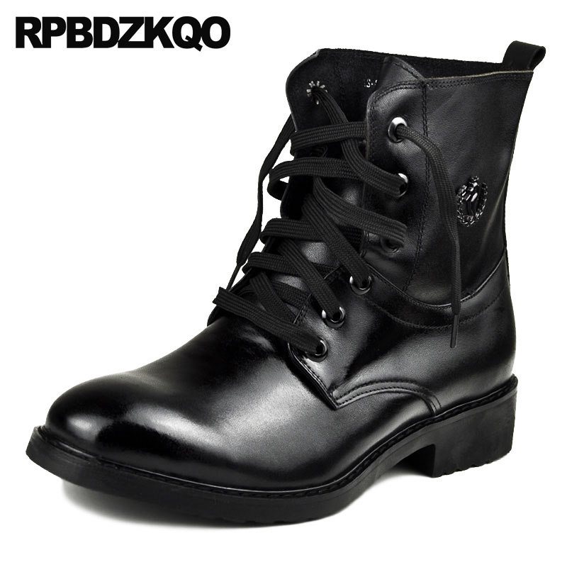 Retro Combat Boots Shoes Genuine Leather Army Men Runway Full Grain Ankle Autumn Military Short Lace Up Chunky Black ItalianRetro Combat Boots Shoes Genuine Leather Army Men Runway Full Grain Ankle Autumn Military Short Lace Up Chunky Black Italian