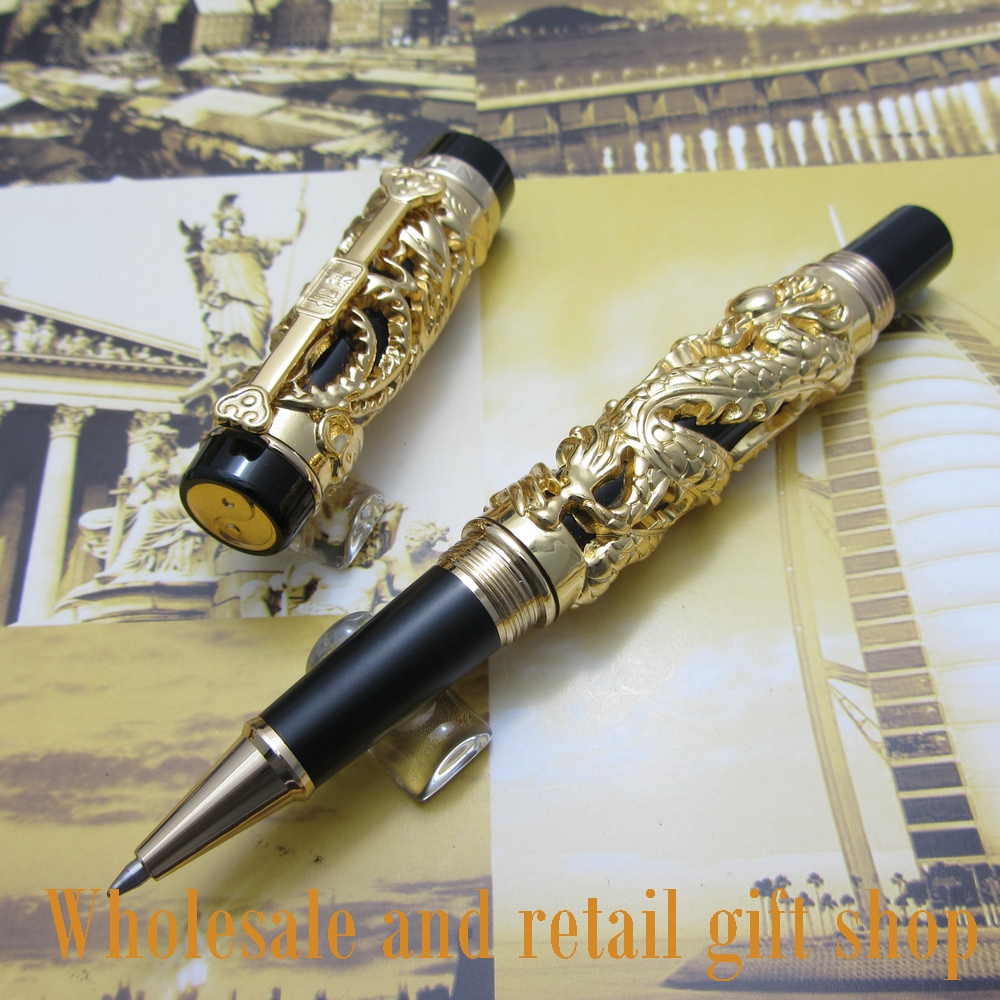 Jinhao Dragon Phoenix Heavy Gold Chinese Classical Luck Clip roller Pen jinhao a200 chinese double dragons playing with the pearl beautiful advanced roller ball pen