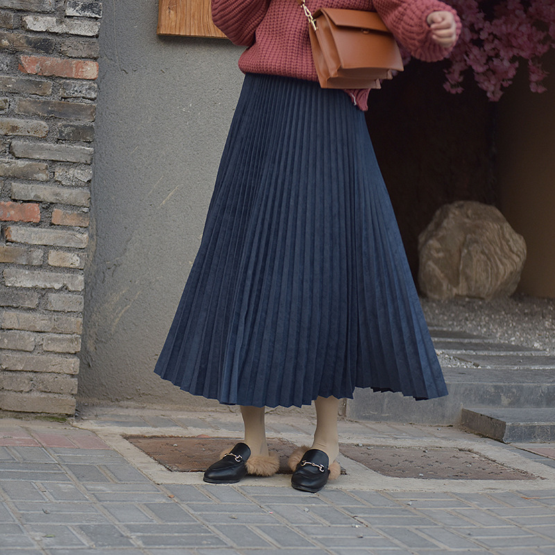 19 Two Layer Autumn Winter Women Suede Skirt Long Pleated Skirts Womens Saias Midi Faldas Vintage Women Midi Skirt 58