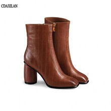 CDAXILAN new arrivals boots women genuine leather round heels square toe high ankle  zipper ladies sexy short