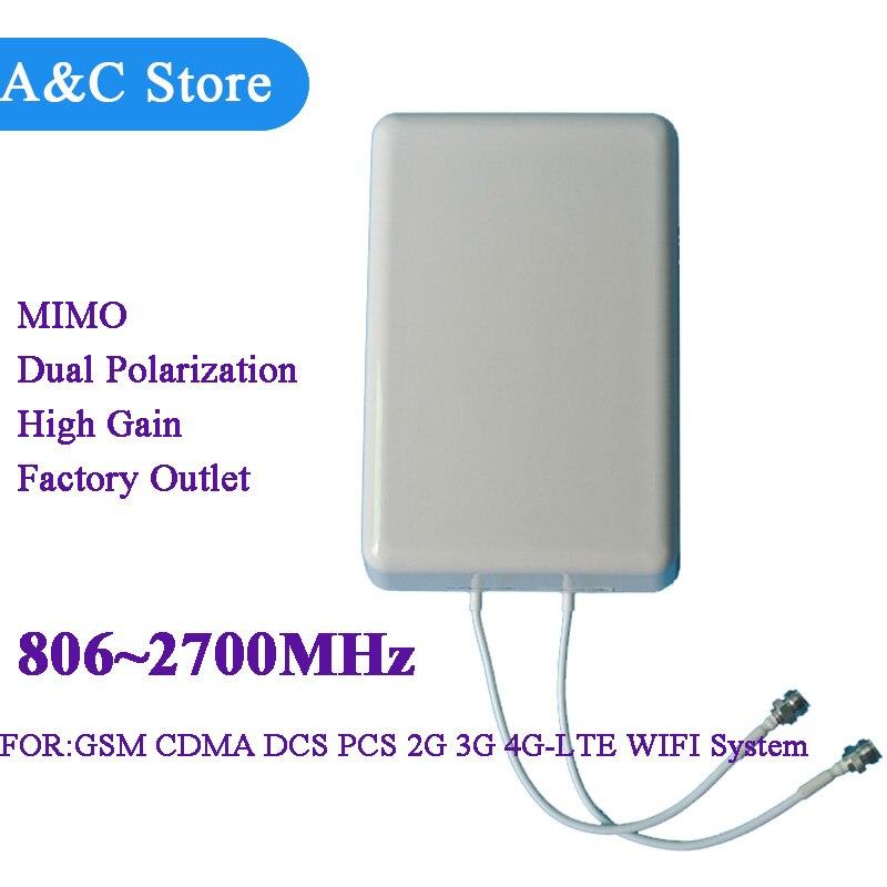 Antenne mimo polarisée croisée 806 ~ 2700 MHz 2G 3G 4G lte antenne cellulaire à haut gain panneau antenne n-femelle SMA 5 pcs/lot