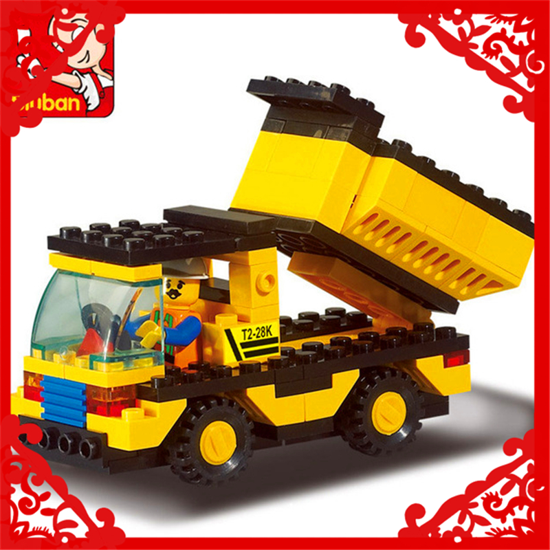 Engineering Dump Truck Model Building Block Toys Compatible Legoe SLUBAN 9500 93Pcs DIY Educational Gift For Children sluban 0372 block compatible legoe aviation city aircraft repair shop model 596pcs educational building toys for children