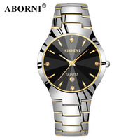 ABORNI Top Brand Luxury Men Watch Tungsten Steel Calendar Gold Male Female Dress Clock Lovers Quartz Wristwatch relojes hombre