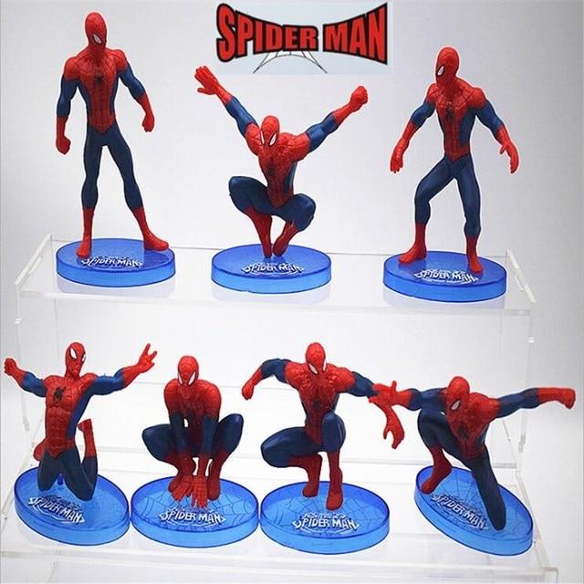 7 pçs/set 9 cm Estatueta ABS conjunto Modelo de Brinquedo Figura de Ação do Homem Aranha Herói Spiderman Filme Anime Figura Coleção de brinquedos para meninos